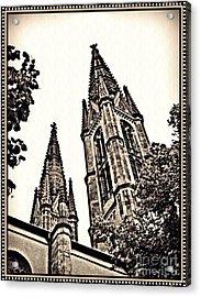 St Boniface Church Towers Sepia Acrylic Print by Sarah Loft