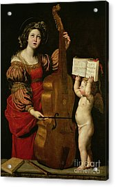 St. Cecilia With An Angel Holding A Musical Score Acrylic Print