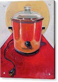 St. Crock Pot In Orange Acrylic Print by Jennie Traill Schaeffer