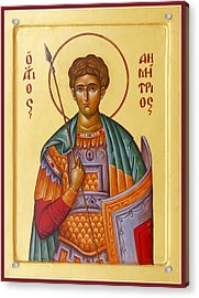 St Demetrios The Great Martyr And Myrrhstreamer Acrylic Print
