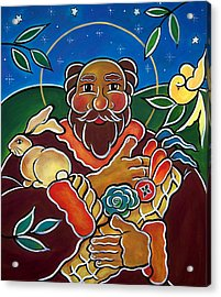 Acrylic Print featuring the painting St. Fiacre - Patron Of Gardeners by Jan Oliver-Schultz