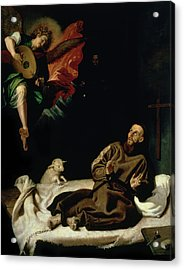 St Francis Comforted By An Angel Musician Acrylic Print by Francisco Ribalta
