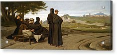 St Francis Of Assisi While Being Carried To His Final Resting Place At Saint-marie-des-anges Blesses Acrylic Print