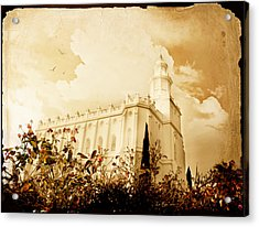 St George Temple Roses Acrylic Print by La Rae  Roberts