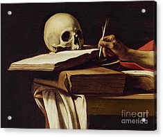 St. Jerome Writing Acrylic Print by Caravaggio