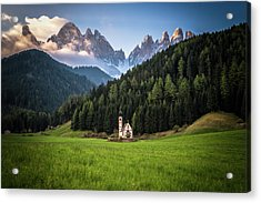 St. Johann Church In Val Di Funes Acrylic Print