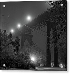 St. Johns Bridge On Snowy Evening Acrylic Print