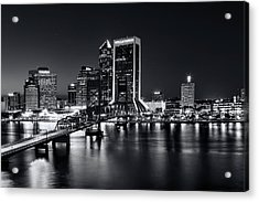 St Johns River Skyline By Night, Jacksonville, Florida In Black And White Acrylic Print