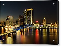 St Johns River Skyline By Night, Jacksonville, Florida Acrylic Print