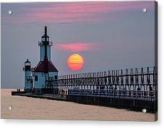 Acrylic Print featuring the photograph St. Joseph Lighthouse At Sunset by Adam Romanowicz