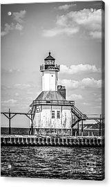 St. Joseph Michigan Lighthouse In Black And White Acrylic Print