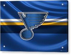 St. Louis Blues - 3 D Badge Over Silk Flag Acrylic Print by Serge Averbukh
