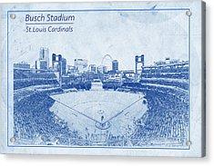 Acrylic Print featuring the photograph St. Louis Cardinals Busch Stadium Blueprint Names by David Haskett