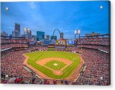 St. Louis Cardinals Busch Stadium Creative Blue Acrylic Print by David Haskett