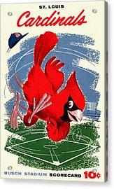 St. Louis Cardinals Vintage 1958 Scorecard Acrylic Print by Big 88 Artworks