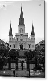 St Louis Cathedral On Jackson Square In The French Quarter New Orleans Black And White Acrylic Print by Shawn O'Brien