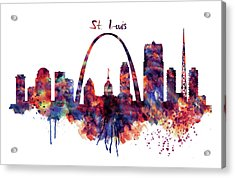 Acrylic Print featuring the digital art St Louis Skyline by Marian Voicu