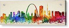 St. Louis Skyline Panorama Usmosl-pa03 Acrylic Print