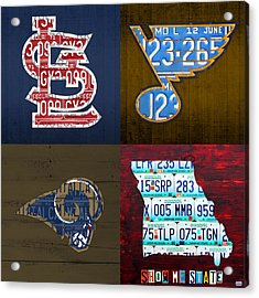 St Louis Sports Fan Recycled Vintage Missouri License Plate Art Cardinals Blues Rams Acrylic Print