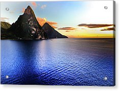 Acrylic Print featuring the photograph St. Lucia's Cobalt Blues by Karen Wiles