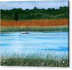 Acrylic Print featuring the pastel St. Marks Fishing by Jan Amiss