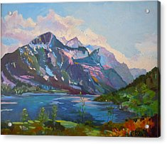 Acrylic Print featuring the painting St. Marys Lake Glacier National Park by Francine Frank