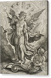 St Michael Triumphing Over The Dragon Acrylic Print by Hieronymus or Jerome Wierix