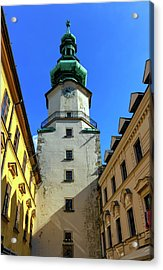 St Michael's Tower In The Old City, Bratislava, Slovakia, Europe Acrylic Print by Elenarts - Elena Duvernay photo