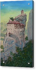 St Nicholas Anapapsas Monastery - Meteora - Greece Acrylic Print by Dan Bozich