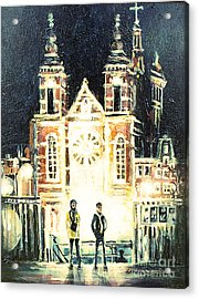 Acrylic Print featuring the drawing St Nicolaaskerk Church by Linda Shackelford