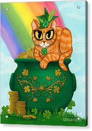 St. Paddy's Day Cat - Orange Tabby Acrylic Print