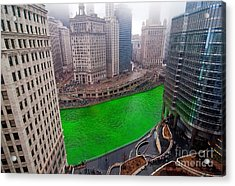 St Patrick's Day Chicago  Acrylic Print by Jeff Lewis