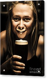 St Patricks Day Woman Imitating An Irish Man Acrylic Print by Jorgo Photography - Wall Art Gallery