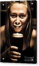 St Patricks Day Woman Imitating An Irish Man Acrylic Print