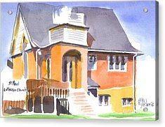 Acrylic Print featuring the painting St Paul Lutheran In Watercolor 2 by Kip DeVore