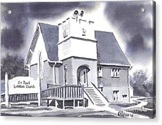 Acrylic Print featuring the painting St Paul Lutheran With Ink by Kip DeVore