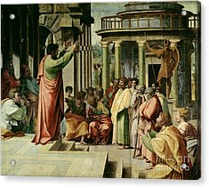 St. Paul Preaching At Athens  Acrylic Print by Raphael