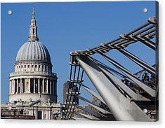 St Pauls Cathedral And The Millenium Bridge  Acrylic Print