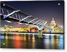 St Paul's Cathedral During Night From The Millennium Bridge Over River Thames, London, United Kingdom. Acrylic Print