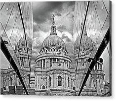 St Pauls Cathedral Reflections - Black And White Acrylic Print by Gill Billington
