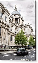 St Pauls Cathedral With Black Taxi Acrylic Print