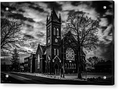 St Pauls United Church Milton  Black And White Acrylic Print