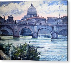 St Peter And Ponte San Angelo Rome Italy 2009 Acrylic Print by Enver Larney