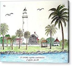 St Simons Island Lighthouse  Acrylic Print by Frederic Kohli