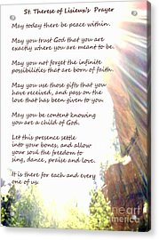 St Therese Of Lisieux Prayer And True Light Lower Emerald Pools Zion Acrylic Print