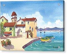St Tropez Harbour South Of France Acrylic Print by Pamela Jones