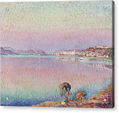 St Tropez. Two Kids By The Water Acrylic Print