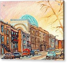 St Urbain Street Scene Baron Byng High School Painting Montreal Memories Carole Spandau              Acrylic Print