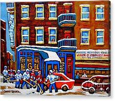 St Viateur Bagel With Hockey Montreal Winter Street Scene Acrylic Print by Carole Spandau