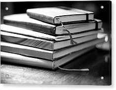 Stack Of Notebooks Acrylic Print by FOTOGRAFIE melaniejoos